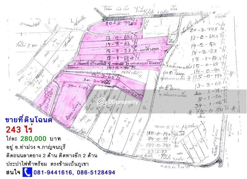 Sell a Nice Land 250 Rai 100 Acres in Kanchanaburi 280 000 Baht