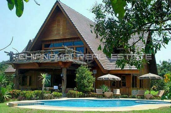 S0450 2 storey ditched house for sell resort style mountain view and private swimming pool f for Chiang mai house for rent swimming pool