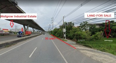 For Sale - E065 Land for sale next to Bang Na-Trad Road, Km. 36 , opposite the Wellgrow Industrial Estate. 28 Rai