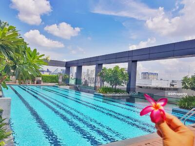 For Sale - Completely furnished room for sales at Thru Thonglor Condo, 1 bedroom, 1 bathroom, 1 living room and kitchen and a balcony, near BTS Thonglor station, MRT Phetchaburi station