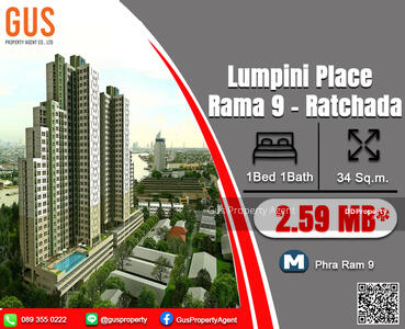 For Sale - Urgent Sale **Lumpini Place Rama 9 - Ratchada **Fully Furnished 1Bed 34 Sq. m @ 2. 59 MB.